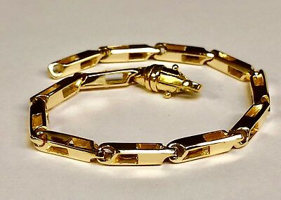 "14k Solid Yellow Gold Handmade Fashion Link Men Chain Bracelet 9"" 24 grm 4.5MM"