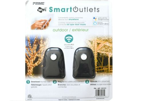 Prime Outdoor Wifi Smart Outlets Works w/ Google & Alexa, 2 Packs (4 outlets)