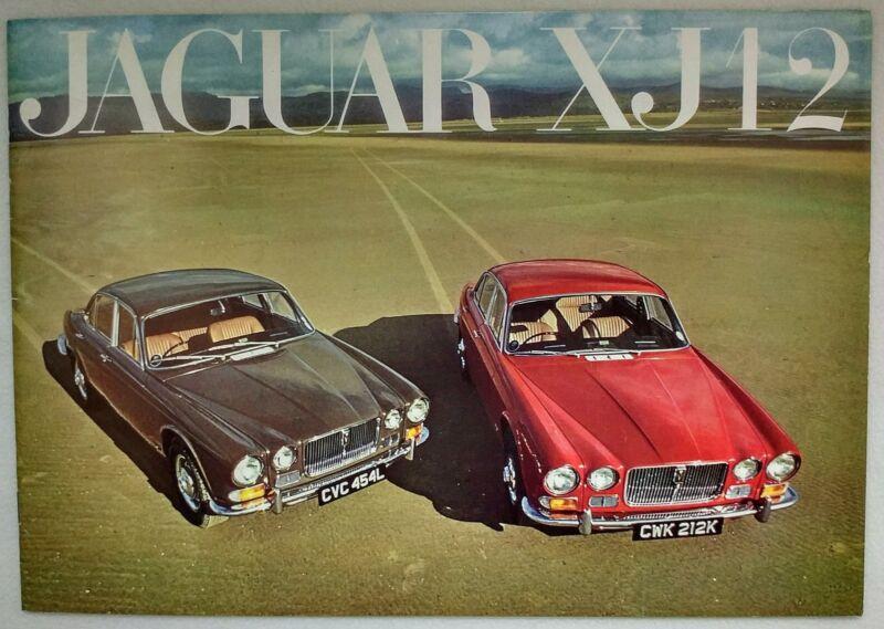 1972 1973 Jaguar XJ-12 Original Sales Brochure Prospekt Depliant w/Spec Sheet