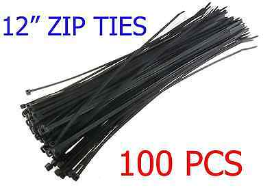 """100 PCS Pack 12"""" inch Network Cable Cord Wire Tie Strap 60 Lbs Zip Nylon Black"""