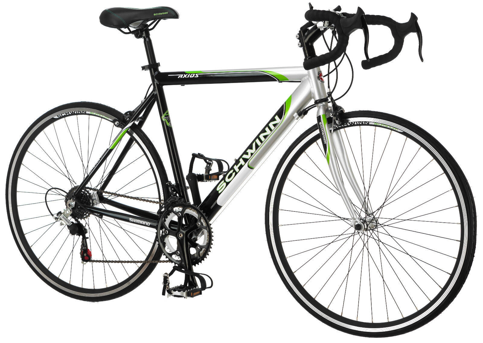 700c Schwinn Men Axios Drop Bar Road Bicycle, Silver/Black/Green, 21.5inch Frame
