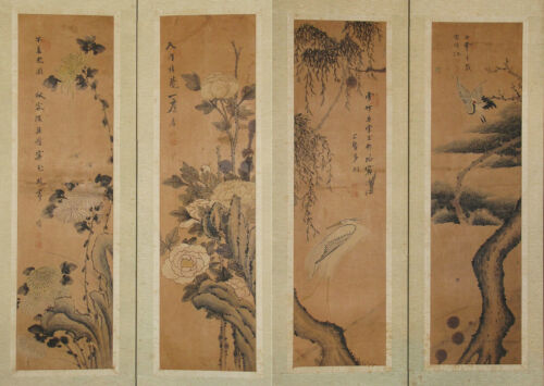 Fine/Old Korean 4 painting (2x2panels) Fold Screens/Birds/Flowers (花鳥圖)-19th C.