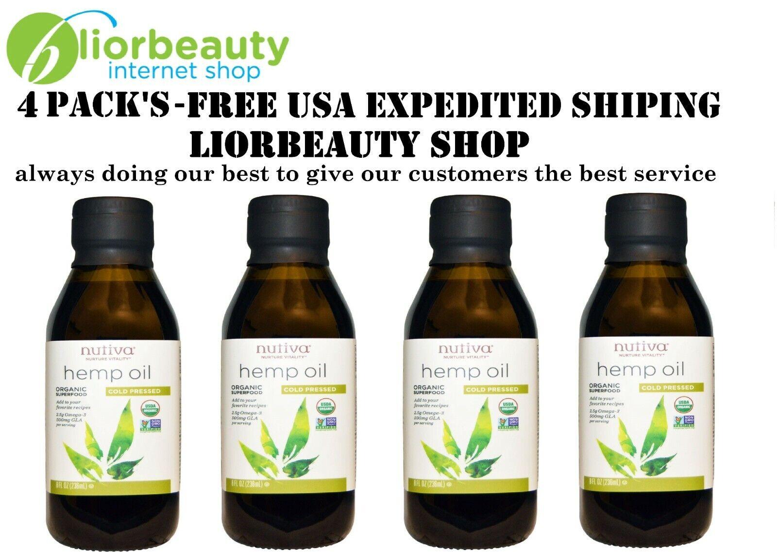 4 PACK'S - Nutiva, Organic, Hemp Oil, Cold Pressed, 8 fl oz (236 ml)