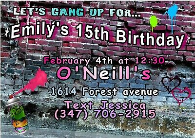 10 City Graffiti Teen Girls Ticket Invitations envelopes Tickets Birthday - Party City Invitations