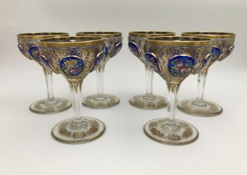 Six Fine Art Glass Moser Elaborate Cobalt Cabochon Gilt Champagne Glass Goblets