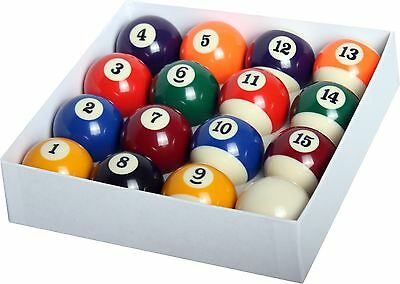 "New Billiard Deluxe Pool Ball Set Standard Size 2-1/4"" Shipped In Padded Bag"
