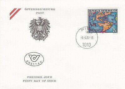 Autriche 1992 1891 FDC Europa Découverte Amérique par Christophe Colomb Carte