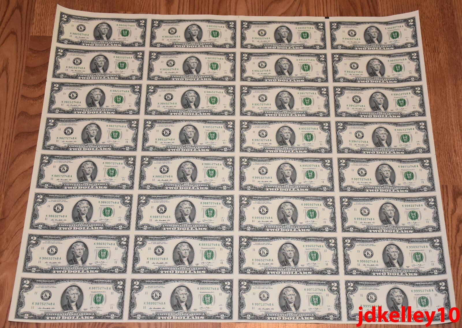 $2 UNCUT SHEET TWO DOLLAR BILLS $2x32 2013 UNITED STATES CURRENCY MONEY BEP NEW