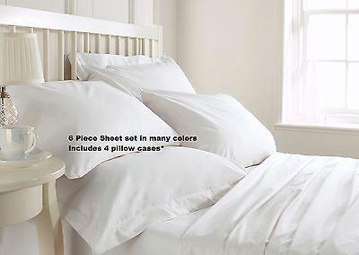KING SIZE SUPER SOFT DEEP POCKET (6) PIECE SHEET SET BED SHEETS IN MANY COLORS (Super King Bed Set)