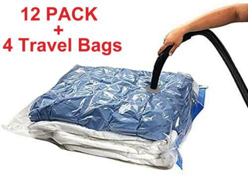 16 PACK: 12 LARGE Space Saver Storage Vacuum Seal Organizer Bags + 4 Travel Bags