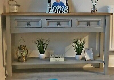 Rustic Grey Sideboard Vintage Antique Solid Wood Console Table Hall Storage Unit
