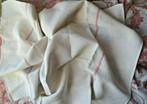 Antique French 19th century hand loomed pure heavy floppy linen towel torchon