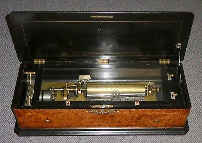Antique SWISS Interchangeable Cylinder MUSIC BOX. 8 airs. Birds Eye Wood. Works.
