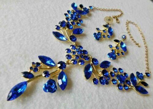 Bib Dangle Front Necklace Pair Earrings Dark Blue Stones or Crystals Metal Rose