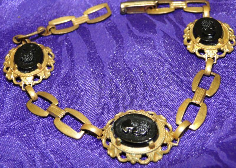 Antique Art Deco Cameo Brass BRACELET 3 Carved Black Glass Ladies Open Chain