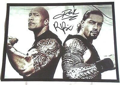The Rock and Roman WWE Stars Signed A4 Print