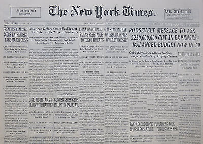 4-1937 WWII April 19 FRENCH SOCIALISTS SCORE EXTREAMISTS FACE MAJOR CRISIS