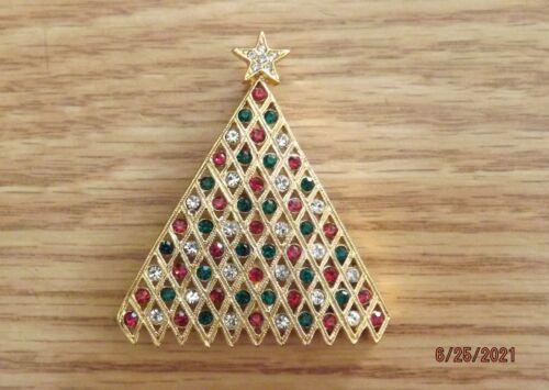 SWAROVSKI CRYSTAL CHRISTMAS TREE Gold Pin Brooch