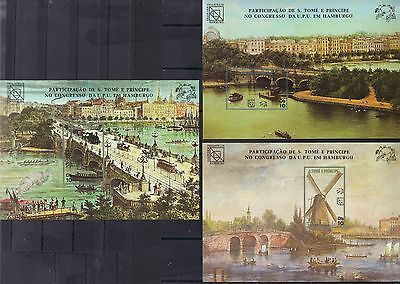 S.Tome & Principe 1984 Hamburg Lombard Bridge,Ferry,Train 3 SS SC 757-759 IMPERF
