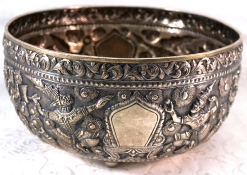 Antique Thai Siam Songkran Water Festival Repousse Sterling Silver Bowl 526g