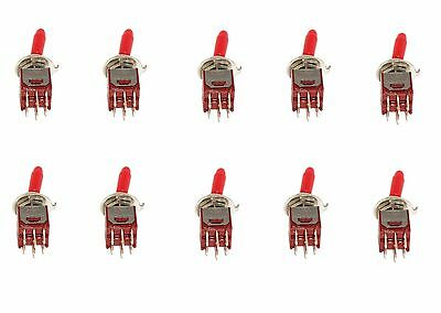 10 Subminiature Dpdt Toggle Switch Onon With Red Toggle Handle