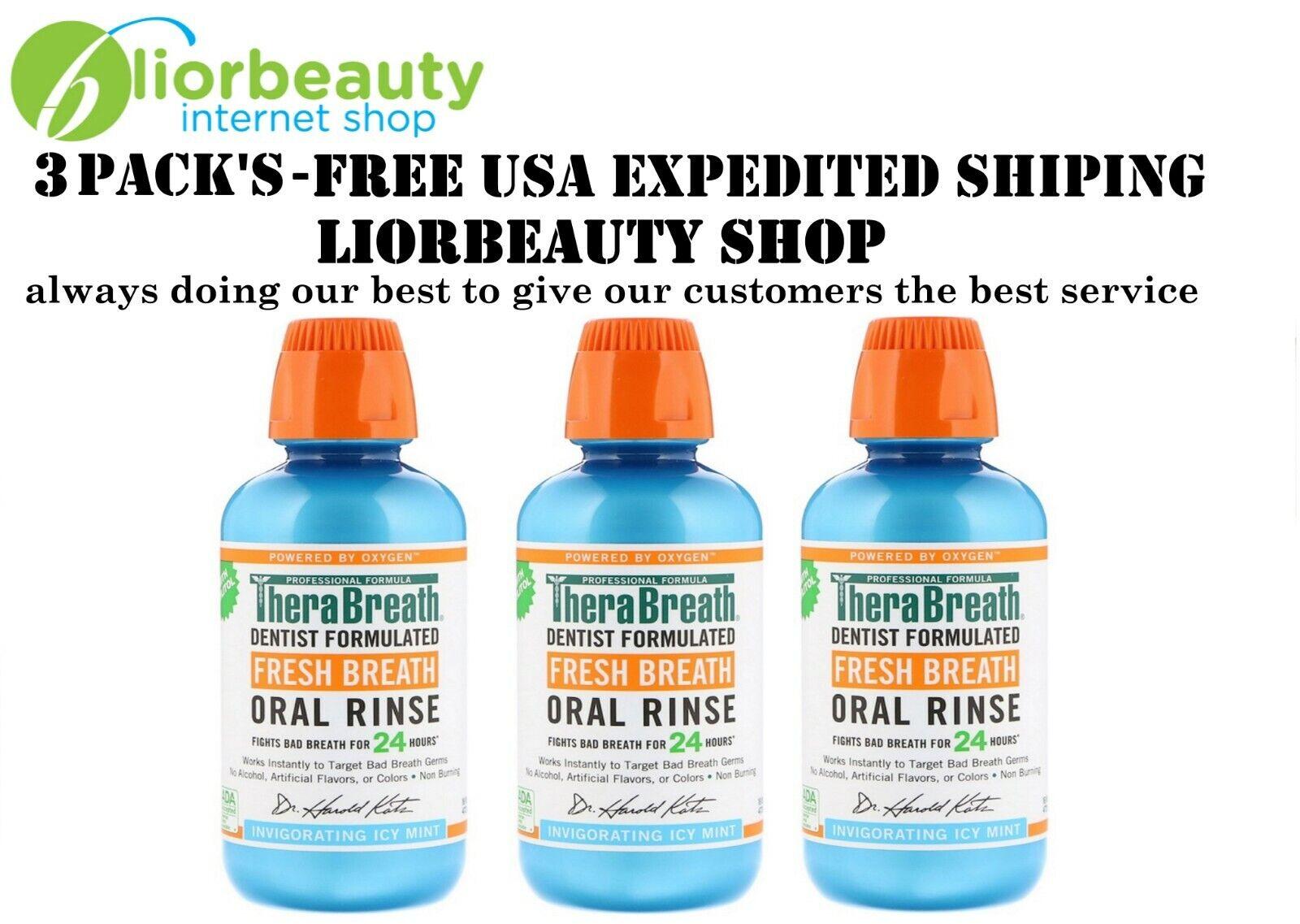 TheraBreath Fresh Breath Oral Rinse Invigorating Icy Mint