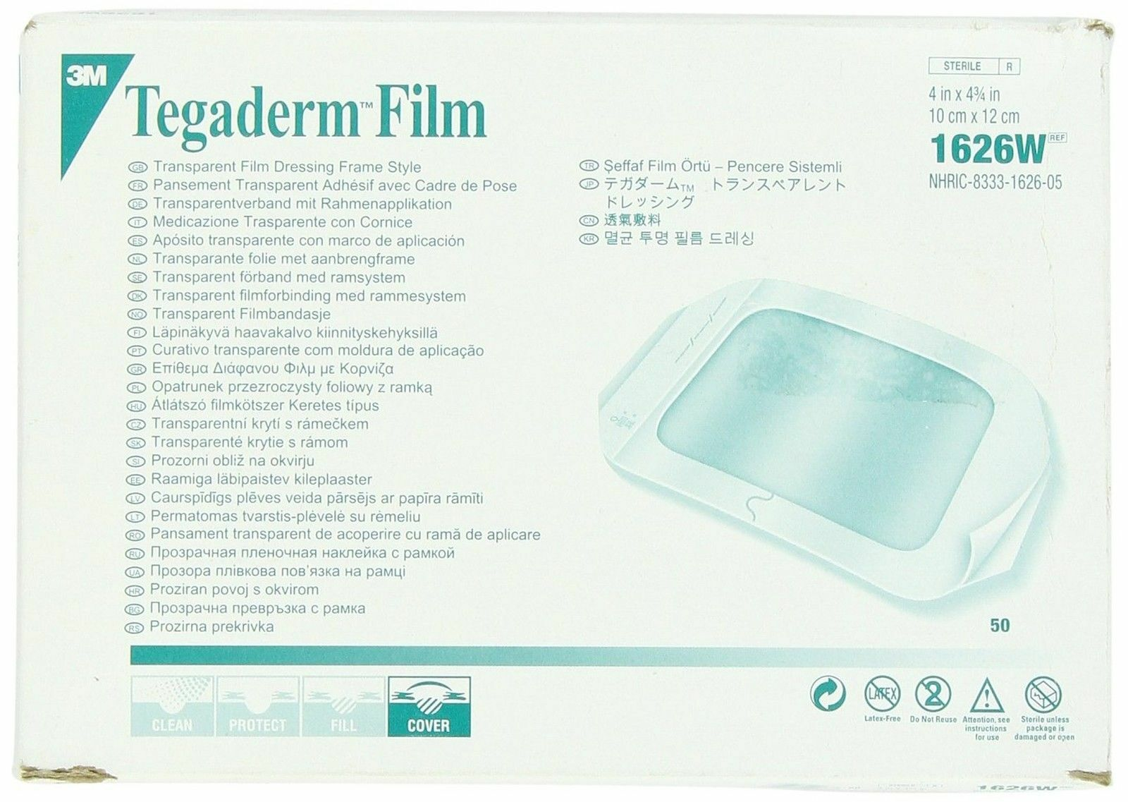 3m Tegaderm Transparent Dressing With Label 4 X 4 34 10 X 12 Cm