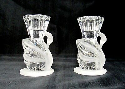 """Set of 2 PartyLite Swan Candle Holders 4"""" Clear & Frosted 24% Lead Crystal NEW"""