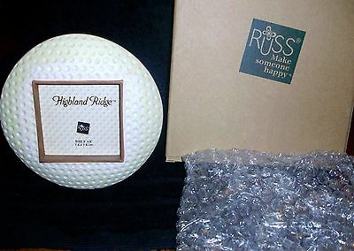 """RUSS GOLF Ball Picture Frame 3x3 Photo Handpainted Stoneware Crackle 5.5"""" diam"""