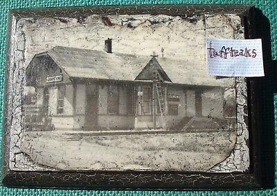 GRAPEVINE TEXAS Train Depot Vintage POSTCARD Photo Decoupage On Wood Plaque NR