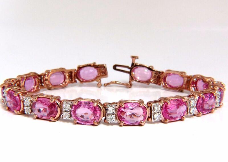 22.46ct Natural Vivid Pink Sapphire Diamond Bracelet 14kt G/vs Pink Statement+