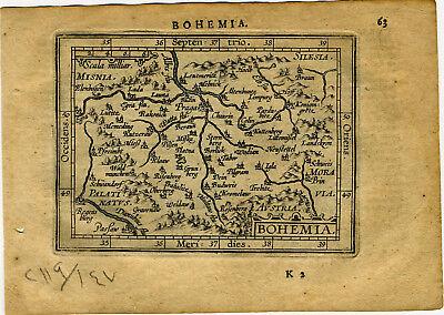 1609 Genuine Antique miniature map Czechoslavakia, Bohemia, Prague. A. Ortelius