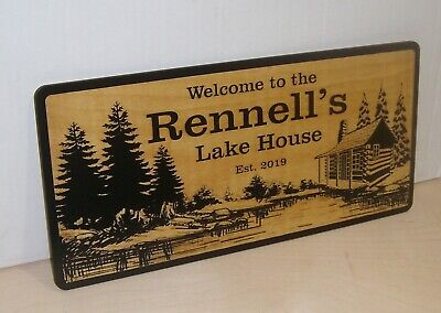 Personalized Cabin Sign Lake house Home Decor Wood ANY TEXT Engraved Gift. ()