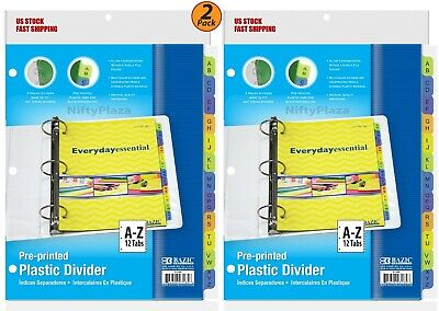 2 Pack - 3-ring Binder Dividers W 12-preprinted A-z Tab Standard 3 Ring Binders
