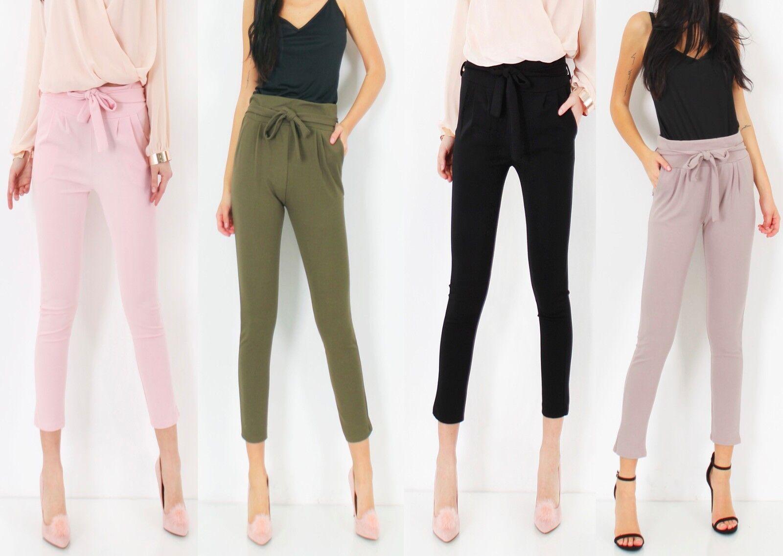 UK Womens Belt Tie Waist Paperbag Trousers Ladies Cigaratte Pants Size 6-14