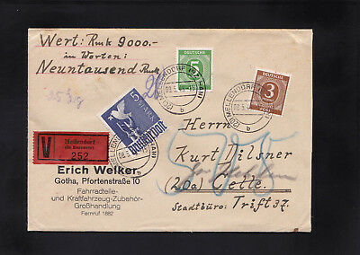 All.Bes, Wertbrief 1948 aus Mellendorf nach Celle mit Nachporto ???