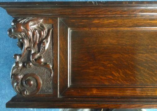 Antique Salvage-Solid Oak Furniture Backsplash Carved Griffins Circa 1890s