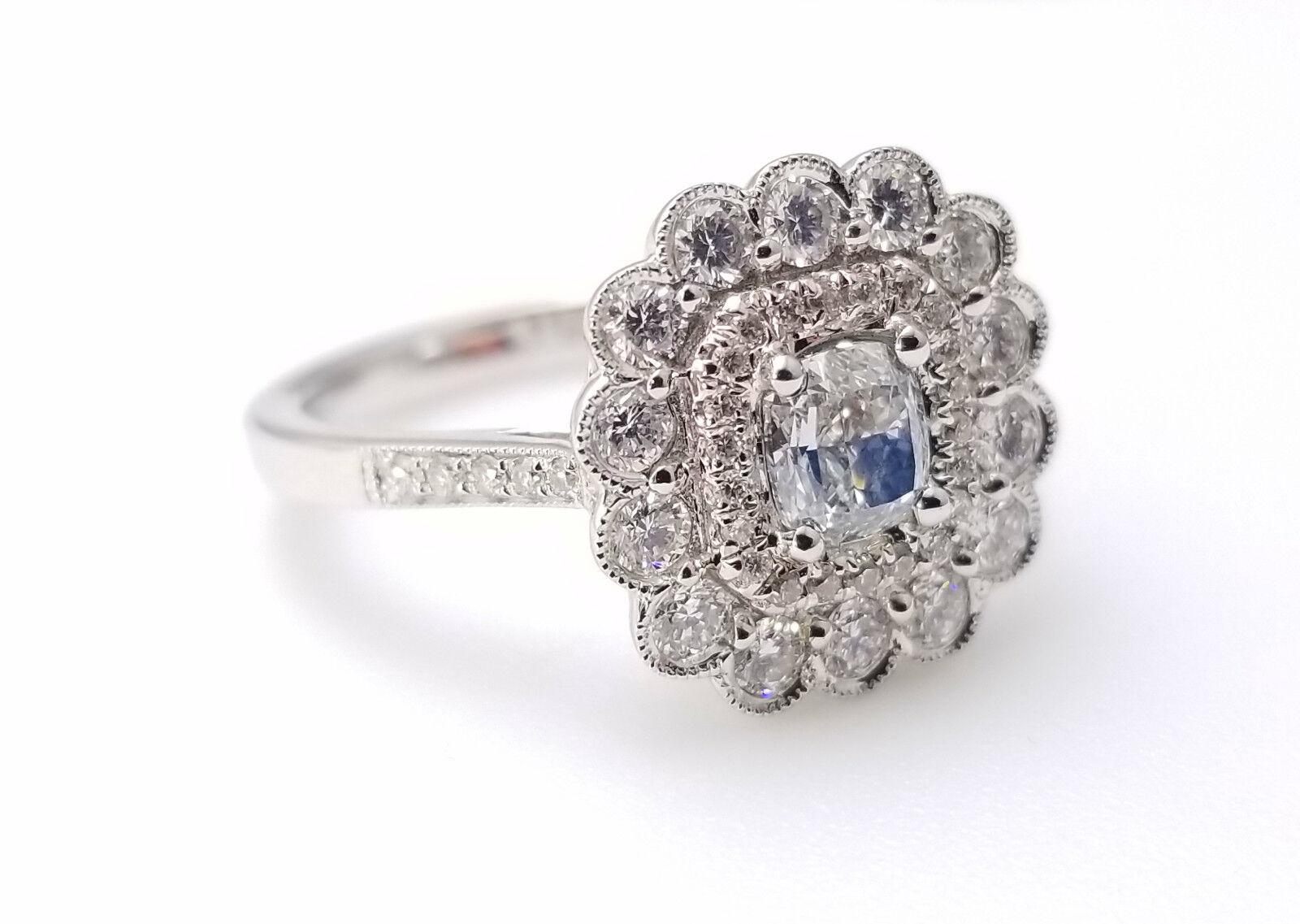 1.03ct Faint Blue Diamond Engagement Ring GIA Cushion Hallo 18K White Gold VS1 1