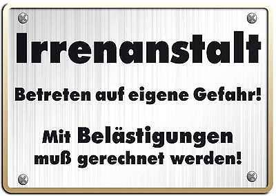 IRRENANSTALT FUNSCHILD - 10x15 cm Blechkarte Blechschild 15028