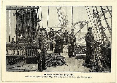 An Bord eines japanischen Kriegsschiffes Holzstich Militärische Graphik von 1895