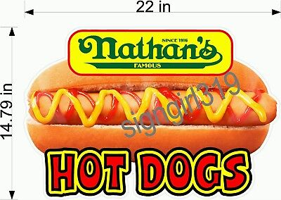Nathans Famous Hot Dog 22 Concessions Sign Decal Food Hot Dog Cart Sticker