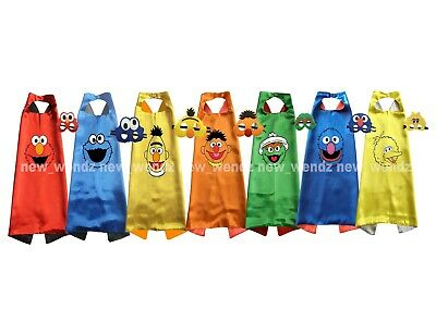 Sesame Street Costume Cape & Mask Kids Set - Elmo Cookie Monster Grover Big Bird