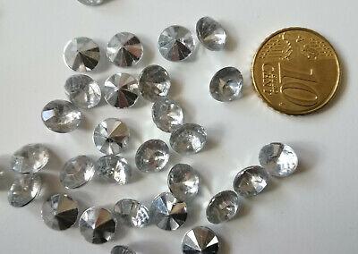 Cristal facetado diamante 8 mm transparente X 50 UNIDADES acrílico para pegar