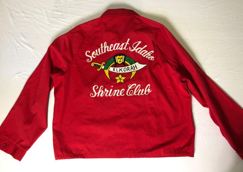 Vtg Sportsmaster XL Shriners Shrine Club Red Jacket Southeast Idaho Elkorah