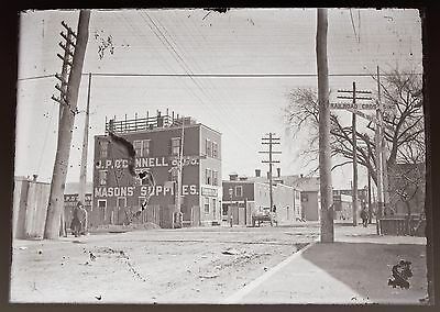 Dorchester Station, MA~Standard Oil~ RR Crossing~Early 1900's Glass Negative ()