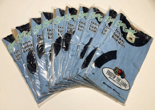 10 Vintage 70s Fruit of the Loom T Shirt LOT NOS Blue Youth Med Kids Dead Stock