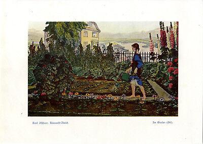 Karl Itschner, Küsnacht- Zürich Im Garten Histor. Farb- Kunstdruck v.1913