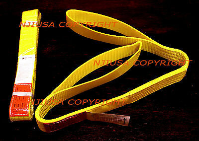 "TWO (2x) EE2-902 x 4ft 2 Ply Polyester Web Lifting Sling 2""x4' Lifting Tow Strap"
