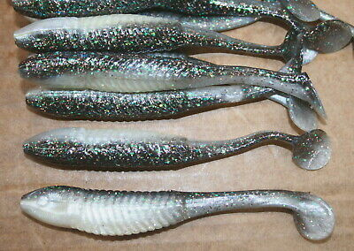 """5/"""" Swim Minnow Watermelon Red Ghost Swimbait Trailer for A Rig 50 pack bulk Worm"""