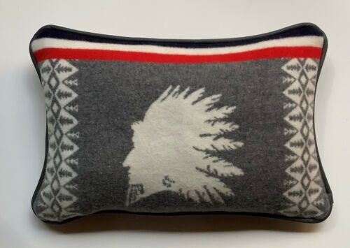 "13""x20"" Majestic Chief Gray Leather & Wool Pillow made with Pendleton Fabric"